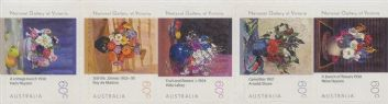 AUS SG3574-8 Gallery Series: National Gallery of Victoria (NGV) Flowers strip 5 ex booklet (exSB375)